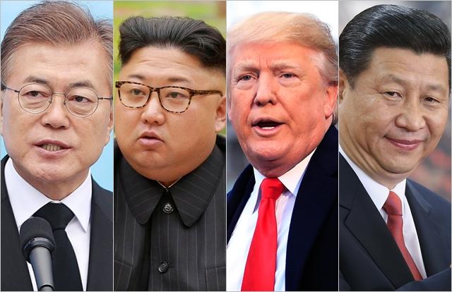 (왼쪽부터) 문재인 대통령, 김정은 북한 국무위원장, 도널드 트럼프 미국대통령, 시진핑 중국 국가주석 ⓒ데일리안