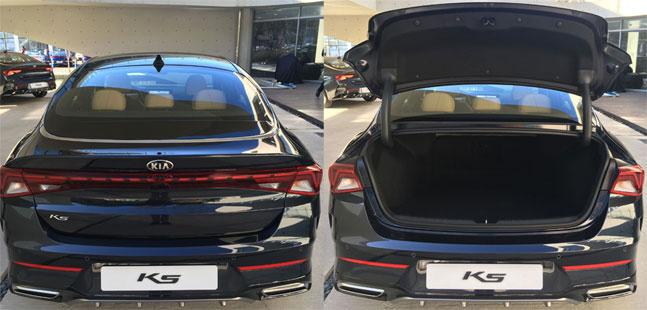 3세대 K5 뒷모습. 패스트백 스타일로 트렁크를 열면 뒷유리가 같이 열릴것 같지만 실제 열어보면 트렁크 리드까지만 열린다. ⓒ데일리안 박영국 기자