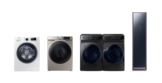 삼성전자 의류케어 가전제품 (왼쪽부터 세탁기, 건조기, 세탁기+건조기 세트, 에어드레서).ⓒ삼성전자