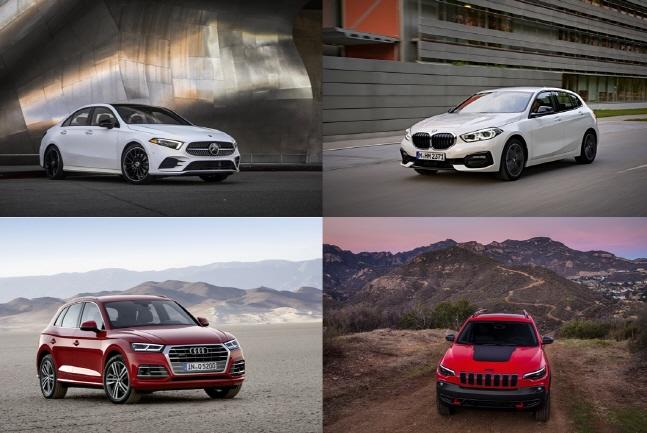 왼쪽 윗줄부터 시계방향으로 벤츠 더 뉴 A클래스, BMW 1시리즈, 지프 체로키 트레일호크, 아우디 Q5ⓒ각사