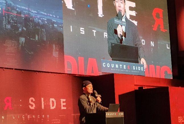 김현 넥슨 부사장이 14일 서울 서초구 넥슨아레나에서 열린 신작 모바일 역할수행게임(RPG) '카운터사이드(Counterside)' 미디어 쇼케이스에서 게임 출시 일정과 서비스 계획을 밝히고 있다.ⓒ데일리안 김은경 기자