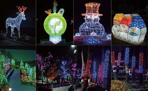 한국중부발전 본사 사옥 야외공간에 전시된 '빛의 정원' 작품들.ⓒ한국중부발전