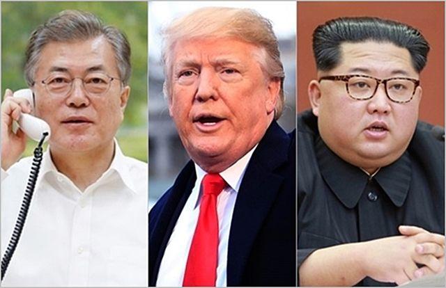 (왼쪽부터) 문재인 대통령, 도널드 트럼프 미국 대통령, 김정은 북한 국무위원장 ⓒ청와대, 도널드 트럼프 트위터, 조선중앙통신
