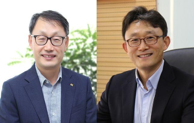 구현모 KT 최고경영자(CEO) 내정자(왼쪽)와 박윤영 기업부문장(사장).ⓒKT