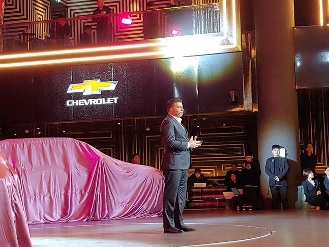카허 카젬 한국GM 사장이 트레일블레이저에 대해 소개하고 있다.ⓒ조인영 기자