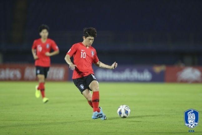한국은 후반 49분 터진 이동경의 환상적인 프리킥 골로 요르단에 2-1 승리했다. ⓒ 대한축구협회