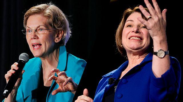 미국 일간 뉴욕타임스가 19일 미국 민주당 경선에서 지지 후보로 선택한 엘리자베스 워런(왼쪽) 상원의원과 에이미 클로버샤 상원의원ⓒ AP·로이터=연합뉴스