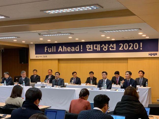 배재훈 현대상선 사장과 임직원들이 21일 서울 연지동 현대상선 본사에서 기자간담회에 참석하고 있다.ⓒ데일리안