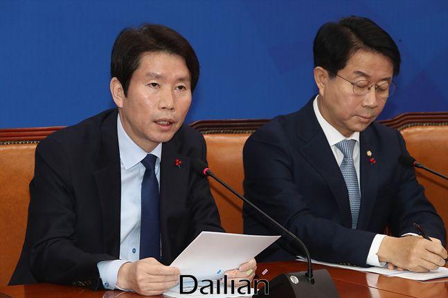 (왼쪽부터) 더불어민주당 이인영 원내대표·조정식 정책위의장(자료사진). ⓒ데일리안 홍금표 기자