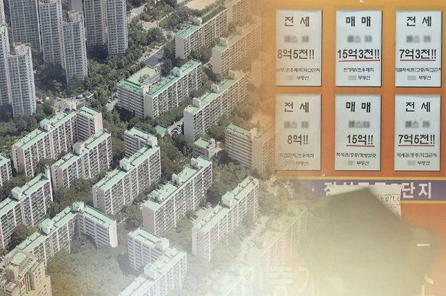 설 직전인 지난주 기준 서울 아파트값 변동률은 0.06%을 기록했다. 서울의 한 아파트단지와 공인중개업소 모습.ⓒ연합뉴스