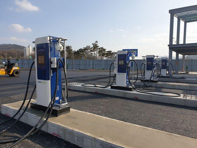 세종시 대평동에 설치된 전기버스 전용 충전기.ⓒ한국전력