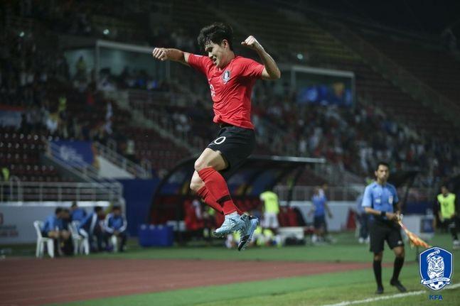 이동경은 토너먼트서 3경기 연속 왼발로 공격 포인트를 기록하며 김학범호의 확실한 무기로 자리 잡았다. ⓒ 대한축구협회