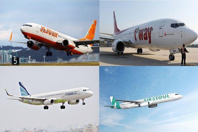 왼쪽 위부터 시계방향으로 제주항공·티웨이항공·에어서울·에어부산 항공기.Ⓒ각 사