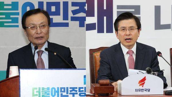 이해찬 더불어민주당 대표(왼쪽)와 황교안 자유한국당 대표(오른쪽).ⓒ연합뉴스