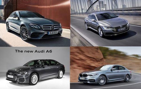 왼쪽 윗줄부터 시계방향으로 벤츠 E300 4MATIC, 폭스바겐 아테온, BMW 뉴5시리즈, 아우디 A6 45 TFSI 콰트로ⓒ각 사