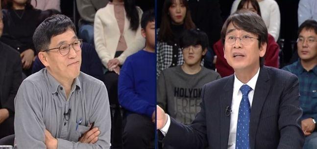 진중권 전 동양대 교수와 유시민 노무현재단 이사장 ⓒJTBC 화면 갈무리
