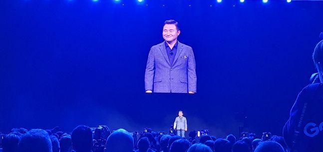 노태문 삼성전자 무선사업부장 사장이 11일(현지시간) 오전 11시 미국 샌프란시스코 팰리스 오브 파인 아트에서 열린 '갤럭시 언팩 2020'에서 기조연설을 하고 있다.ⓒ데일리안 김은경 기자