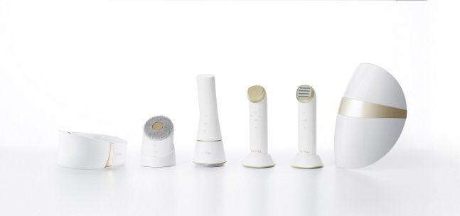 LG 프라엘 6종 제품 이미지. 왼쪽부터 더마 LED 넥케어, 초음파 클렌저, 듀얼 브러시 클렌저, 갈바닉 이온 부스터, 토탈 타이트 업 케어, 더마 LED 마스크.ⓒ LG전자