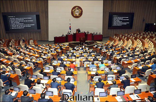지난 1월 9일 오후 열린 국회 본회의에서 자유한국당이 불참한 가운데여야 4+1 협의체(민주당·바른미래당·정의당·민주평화당+대안신당) 소속 의원들이 민생법안들을 처리하고 있다. ⓒ데일리안 박항구 기자