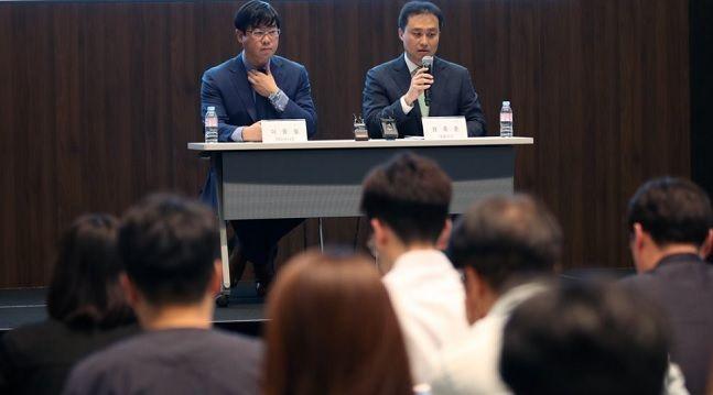 지난해 10월 라임자산운용의 원종준 대표가 펀드의 환매 연기 관련 발표를 하고 있는 모습.ⓒ연합뉴스