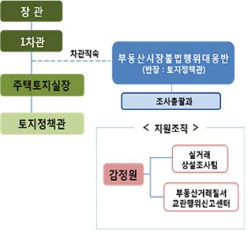 '부동산시장불법행위대응반' 조직도. ⓒ국토부