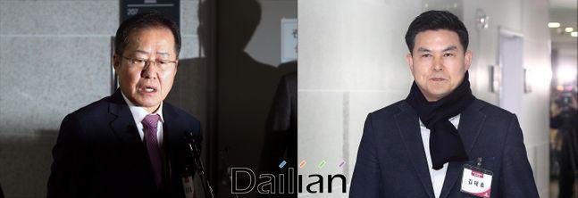 20일 국회 의원회관에서 열린 미래통합당 제21대 국회의원 예비후보자 면접에 참석하고 있는 홍준표 전 대표와 김태호 전 경남지사ⓒ데일리안 홍금표 기자