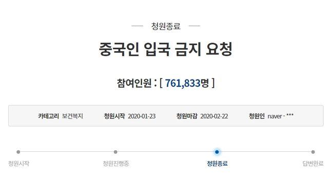 코로나19와 관련해 중국인 입국을 한시적으로 금지해 달라는 청와대 국민청원 글이 76만 명의 동의를 받고 22일 마감됐다. ⓒ청와대 홈페이지 갈무리