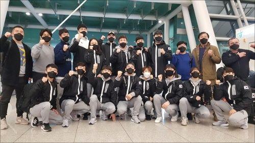 한국 복싱대표팀은 26일 0시 35분 인천국제공항을 통해 도쿄올림픽 요르단 암만으로 출국했다.ⓒ 연합뉴스