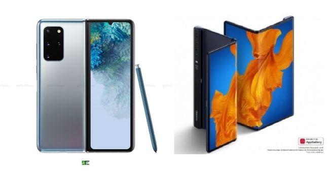 삼성전자 차기 폴더블 스마트폰 '갤럭시폴드2'(가칭) 예상 렌더링 이미지(왼쪽)와 화웨이 폴더블 스마트폰 '메이트Xs' .ⓒ9테크일레븐 트위터 캡처·화웨이