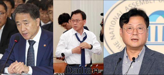 박능후 보건복지부 장관, 박광온 더불어민주당 최고위원, 홍익표 전 민주당 수석대변인ⓒ데일리안DB