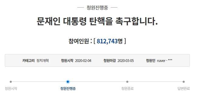 문재인 대통령의 탄핵을 촉구하는 청와대 국민 청원이 26일 오후 10시께 약 81만명의 동의를 얻었다. ⓒ청와대 홈페이지 갈무리