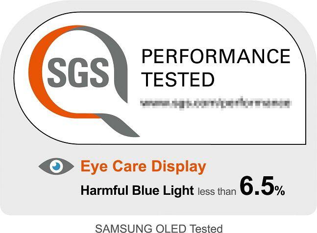삼성디스플레이가 최신 스마트폰용 OLED의 블루라이트비중을 낮춰 글로벌 인증업체 SGS로부터 받은 '아이 케어'인증.ⓒ삼성디스플레이