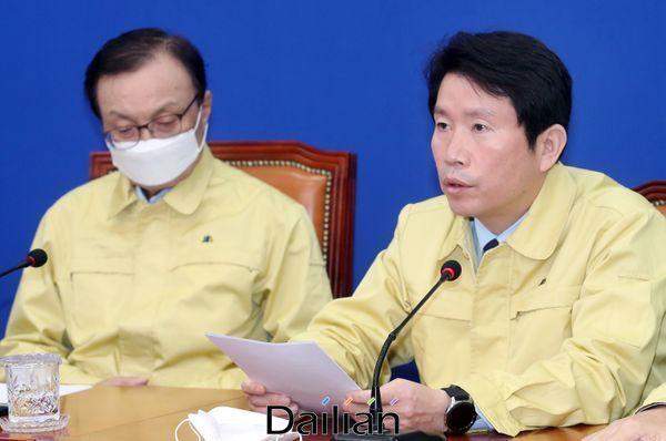 이인영 더불어민주당 원내대표가 26일 오전 국회에서 열린 최고위원회의에서 발언을 하고 있다. ⓒ데일리안 박항구 기자