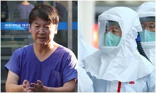 대구동산병원에서 의료봉사 중인 안철수 국민의당 대표. 오른쪽은 전동식호흡장치(PAPR)를 단 방호복을 입은 안 대표. ⓒ연합뉴스