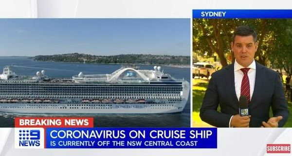 호주 시드니에 도착한 대형 유람선(크루즈) 탑승객 3명이 신종 코로나바이러스 감염증(코로나19) 양성으로 확인됐다. ⓒ나인뉴스오스트레일리아 갈무리