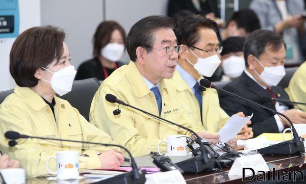 박원순 서울특별시장이 지난 달 21일 오전 서울시청에서 열린
