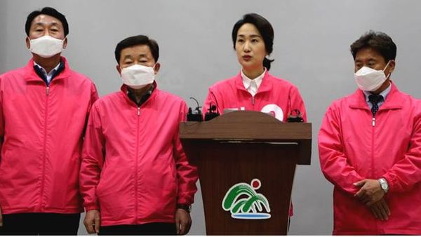 김수민 미래통합당 충북 청주청원 예비후보가 25일 충북도청 브리핑룸에서