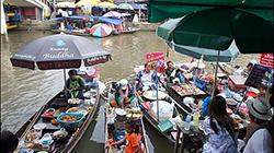 태국 방콕, 강변 따라 시장 여행 '암파와 수산시장'