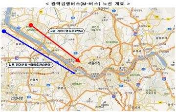 국토부, 고양 가좌~영등포·김포 장기본동~여의도 M버스 노선 신설