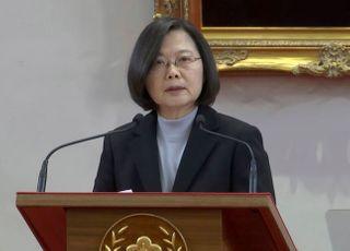 """재선 성공 차이잉원 """"중국 위협에 굴복 않겠다"""""""