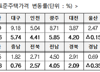 [2020표준단독주택가격] 전국 평균 4.47% 상승…서울 작년대비 6.82% ↑(종합)