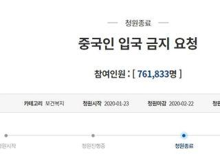 '중국인 입국금지' 靑 청원 76만명 마감