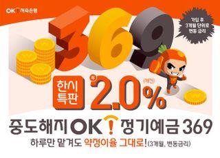 OK저축銀, 하루만 맡겨도 연 2% '정기예금 369' 출시
