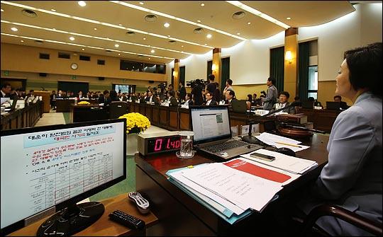 15일 오전 서울 삼청동 감사원에서 열린 법제사법위원회 감사원 국정감사에서 박범계 민주당 의원이 질의한 4대강 사업과 관련 PPT자료가 모니터에 보이고 있다. ⓒ데일리안 홍효식 기자