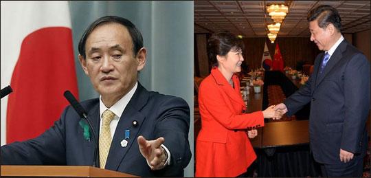(오른쪽 사진) 핵안보정상회의를 위해 네덜란드 헤이그를 방문한 박근혜 대통령과 시진핑 중국 국가주석이 23일 오후(현지시간) 헤이그의 한 호텔에서 열린 한-중 정상회담에서 회담을 마친뒤 밝은 표정으로 악수하고 있다. (왼쪽 사진) 스가 요시히데 일본 관방장관.ⓒ연합뉴스