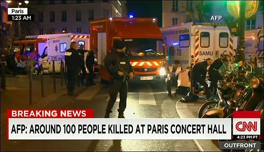 지난 13일 프랑스 파리 6곳에서 대규모 테러로 총 129명이 사망하고 352명이 부상을 입었다.(자료사진) CNN화면 캡처
