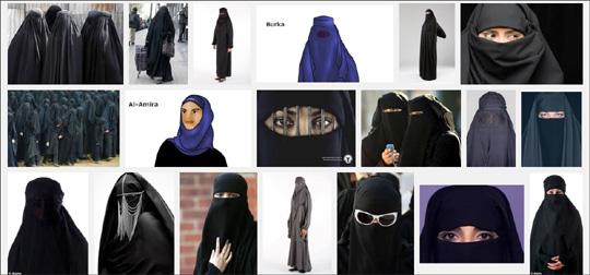 영국 정부가 각급 학교에서 부르카 착용을 금지할 수 있게 했다. 사진은 구글에서 부르카를 검색했을 때 나오는 사진들 캡쳐.