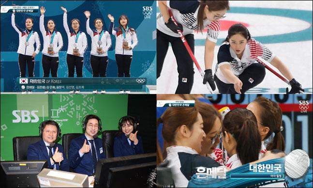 SBS 해설진이 한국 여자컬링팀의 은메달 획득에 극찬을 보냈다.ⓒ SBS