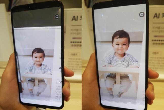 LG전자 V40씽큐로 기자가 촬영한 사진(왼쪽)과 AI가 구도 추천한 사진. ⓒ 데일리안 이호연 기자