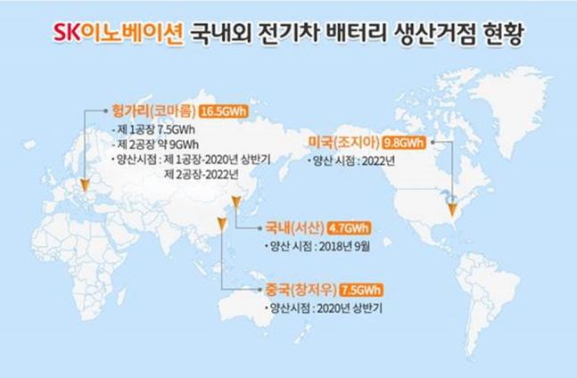 SK이노베이션 국내외 전기차 배터리 생산거점 현황.ⓒSK이노베이션